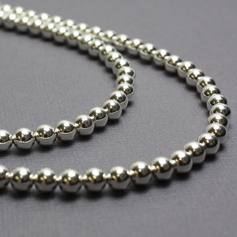 Long Sterling Silver Bead Necklace~5mm