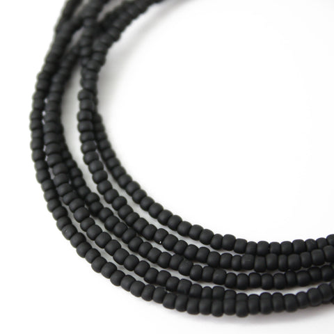 Matte Black Seed Bead Necklace