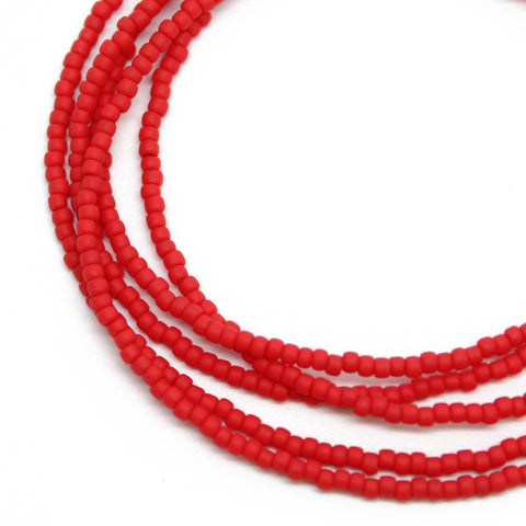 Red Seed Bead Necklace-Matte-Single Strand