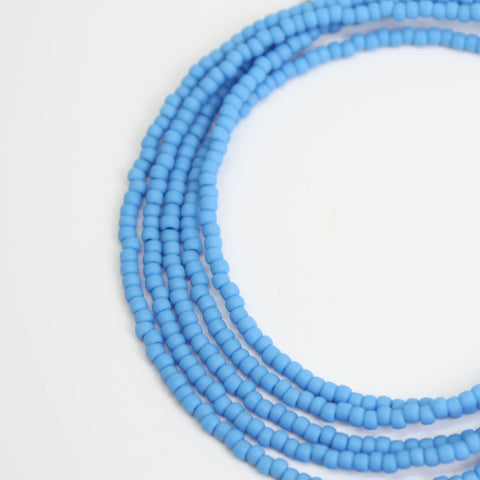 Blue Seed Bead Necklace-Dark Sky Blue Matte Finish-Single Strand