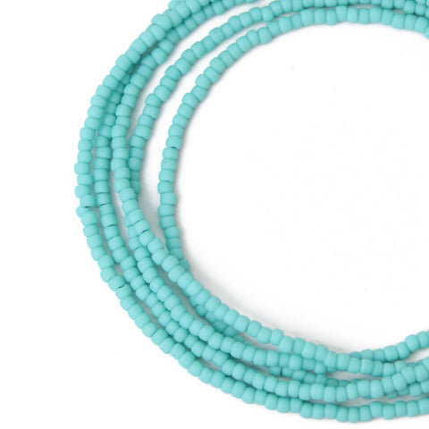 Turquoise Seed Bead Necklace- Matte Finish
