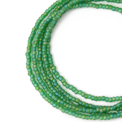 Green Seed Bead Necklace-Matte Grass Green-Single Strand