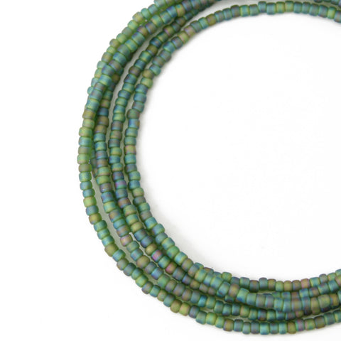 Green Seed Bead Necklace-Matte Spring Green-Single Strand
