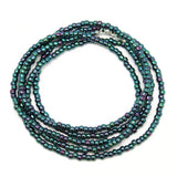 Blue Purple Seed Bead Necklace