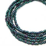 Blue Purple Seed Bead Necklace-Metallic Blue-Single Strand-8/0