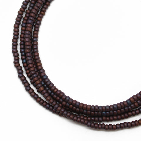 Dark Purple Seed Bead Necklace-Eggplant Colored-Single Strand