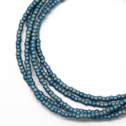 Blue Seed Bead Necklace-Medium Blue-Single Strand
