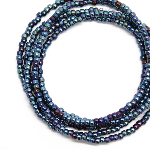 Blue Seed Bead Necklace-Metallic Navy Blue-Single Strand-8/0 Beads