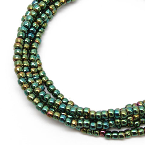 Metallic Teal Green Seed Bead Necklace
