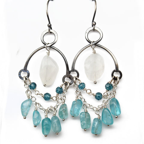 moonstone and apatite earrings