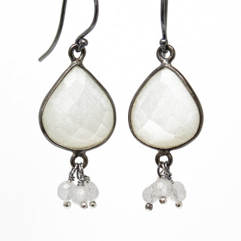 Moonstone and Quartz Dangle Earrings in Sterling Silver