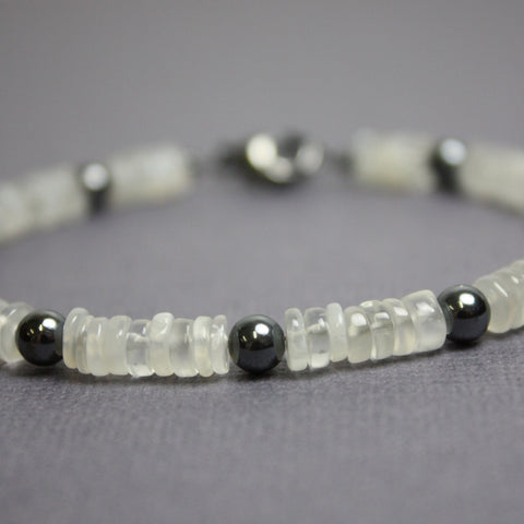 Moonstone and Silver Bead Bracelet