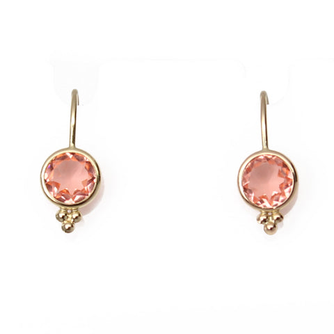 Morganite Crystal Quartz Gold Filled Dangle Earrings