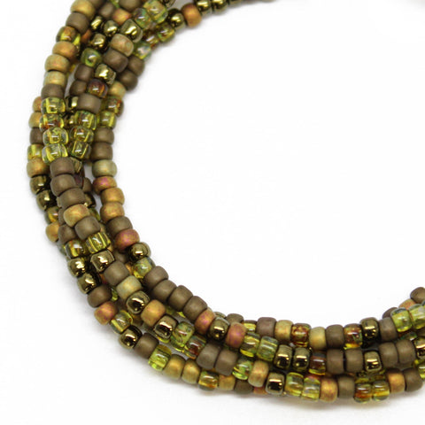 Green Seed Bead Necklace, Multi Color Forest Green, Single Strand