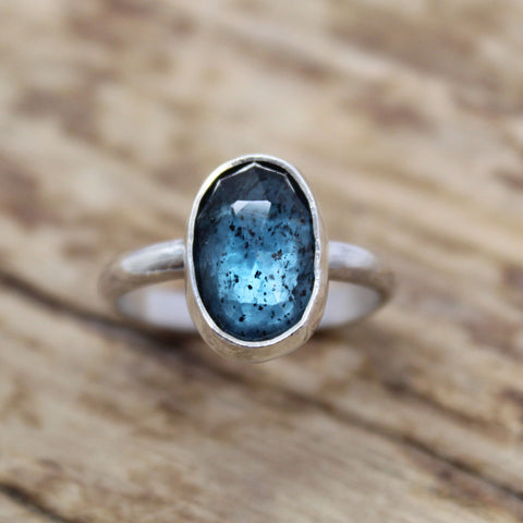 Teal Blue Moss Kyanite Ring in Sterling Silver, 6.75 US