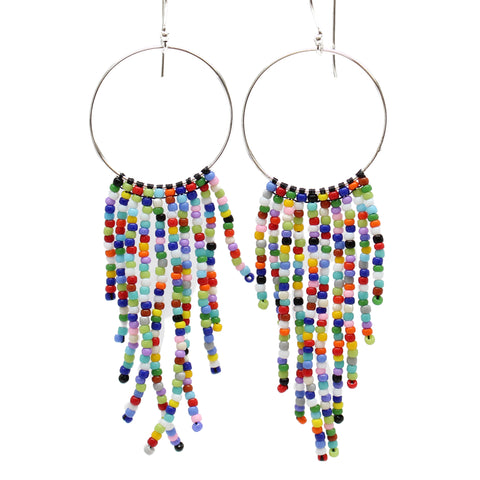 Multi Color Seed Bead Fringe Earrings