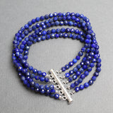 Lapis Lazuli Bracelet, Multi Strand Blue Gemstone, 7.5 Inches