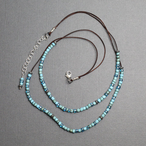 Multi Strand Turquoise Color Bead Necklace on Dainty Leather Cord