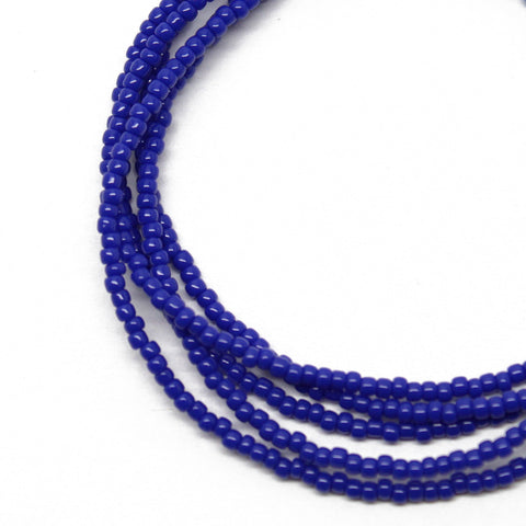 Blue Seed Bead Necklace-Navy Blue-Single Strand-11/0 Beads