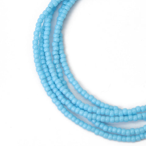 Blue Seed Bead Necklace-Spring Sky Blue Shiny Finish-Single Strand