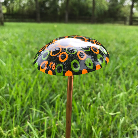 "Small Fused Glass Mushroom Garden Stake~ Orange and Green 12.25"" Tall"