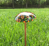 "Small Fused Glass Mushroom Garden Stake~Yellow, Orange and Green 12.25"" Tall"