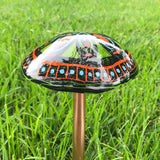 "Fused Glass Mushroom Garden Stake~Orange and Green 12.5"" Tall"