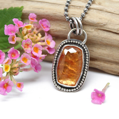 "Orange Garnet and Sterling Silver Pendant Necklace, 16"" Long"