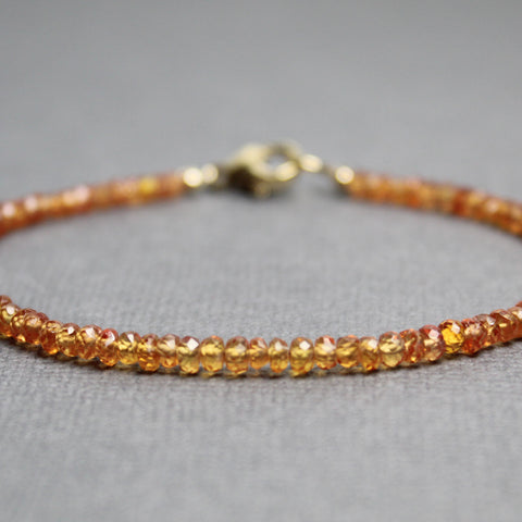Orange Sapphire Bracelet with Gold Filled Clasp
