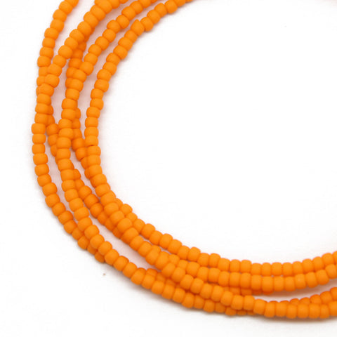 Orange Seed Bead Necklace-Matte Opaque-Single Strand