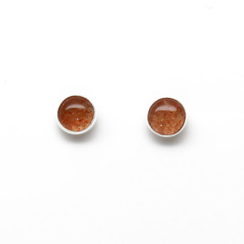 Orange Sunstone Stud Earrings in Sterling Silver-6mm