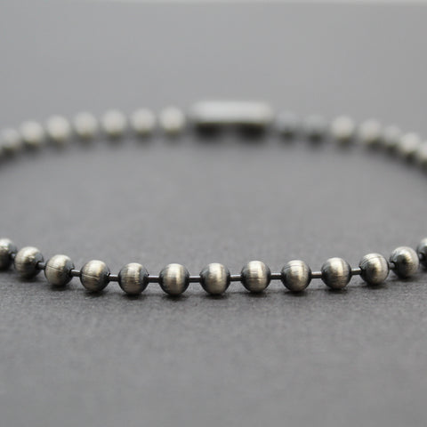 3mm Sterling Silver Bead Ball Chain Bracelet or Necklace, Oxidized