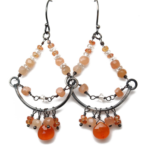 Peach Moonstone Chandelier Earrings in Sterling Silver