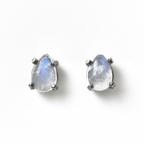 Rainbow Moonstone Pear Shaped Stud Earrings in Sterling Silver