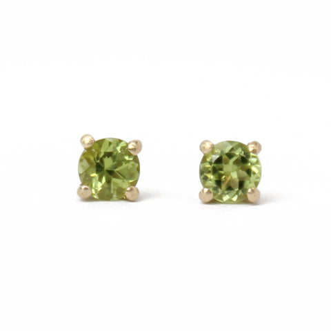 Peridot Studs in Solid Yellow 14k Gold- Small 4mm