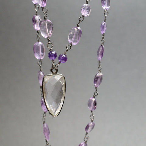 Pink Amethyst and Crystal Quartz Necklace