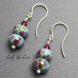 Pink and Blue Bead Earrings