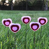"Pink and Red Fused Glass Heart Plant Stake-One Stake-13"" Tall"