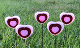 Pink and Red Fused Glass Heart Plant Stakes
