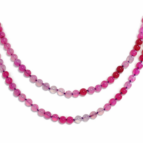 Hand Knotted Pink Chalcedony Necklace, 40 Inches