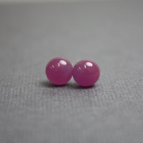 Pink Fused Glass Stud Earrings in Sterling Silver
