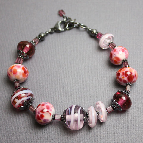Pink Lampwork Bead Bracelet with Tourmaline