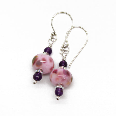 Pink Lampwork Bead Dangle Earrings with Amethyst