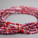 Pink Seed Bead and Amethyst Stretch Bracelet