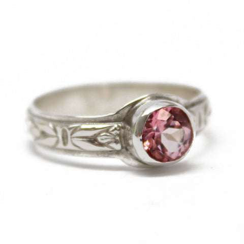Pink Topaz Ring in Sterling Silver, Size 8 US