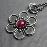 Pink Tourmaline Flower Pendant Necklace, 16 Inches