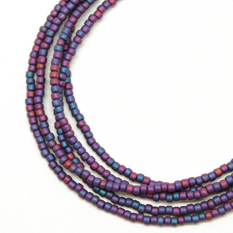 Plum and Teal Seed Bead Necklace, Matte-Single Strand