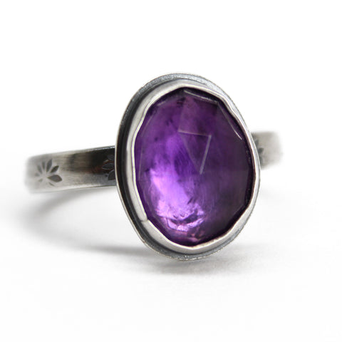 Purple Amethyst Ring in Sterling Silver, 9.0 US