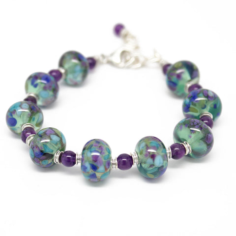 Purple and Green Lampwork Bead Bracelet, Adjustable