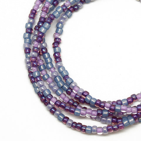 Purple Blue and Pink Seed Bead Necklace